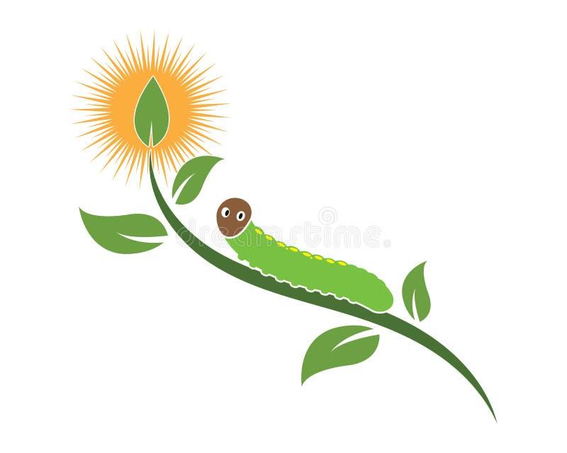 projeto da ilustração do vetor do ícone do logotipo da lagarta ilustração do vetor