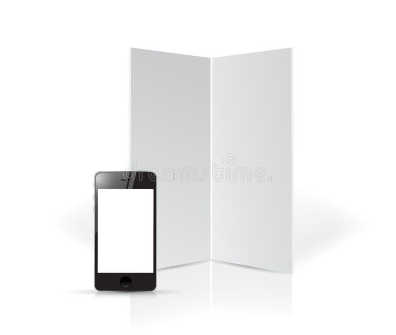 Projeto da ilustração dos moldes da placa e do telefone ilustração stock