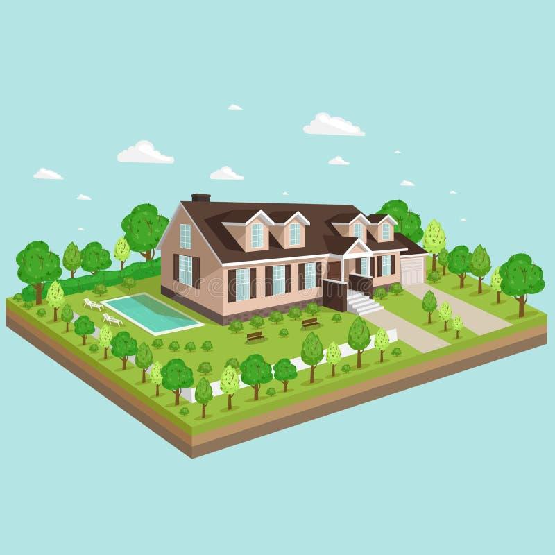 projeto da imagem da casa de campo da vista 3D fotos de stock royalty free