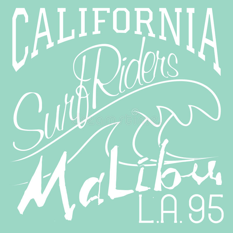 Projeto da impressão do t-shirt, cavaleiros L da ressaca da praia de Califórnia Malibu da etiqueta do Applique do crachá da ilust ilustração do vetor