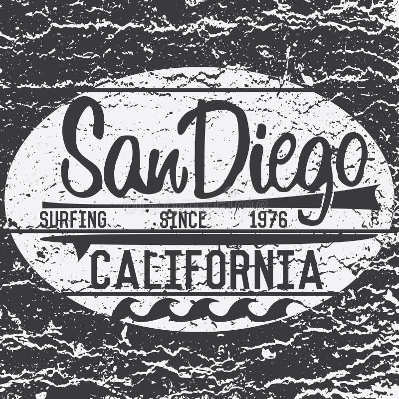 Projeto da impressão do t-shirt, sinal da ressaca de Califórnia San Diego da etiqueta do Applique do crachá da ilustração do veto ilustração do vetor