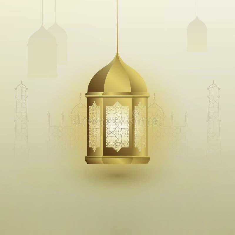 Projeto da lanterna muçulmana dourada no fundo antigo da mesquita com testes padrões ilustração royalty free