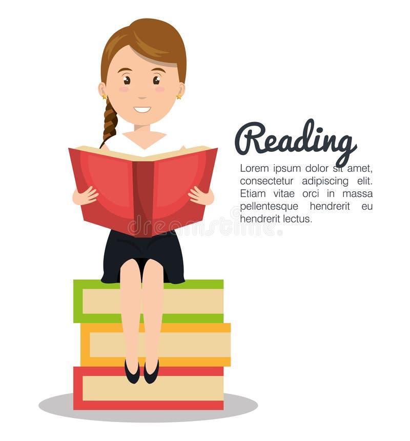 projeto da leitura da pessoa ilustração royalty free