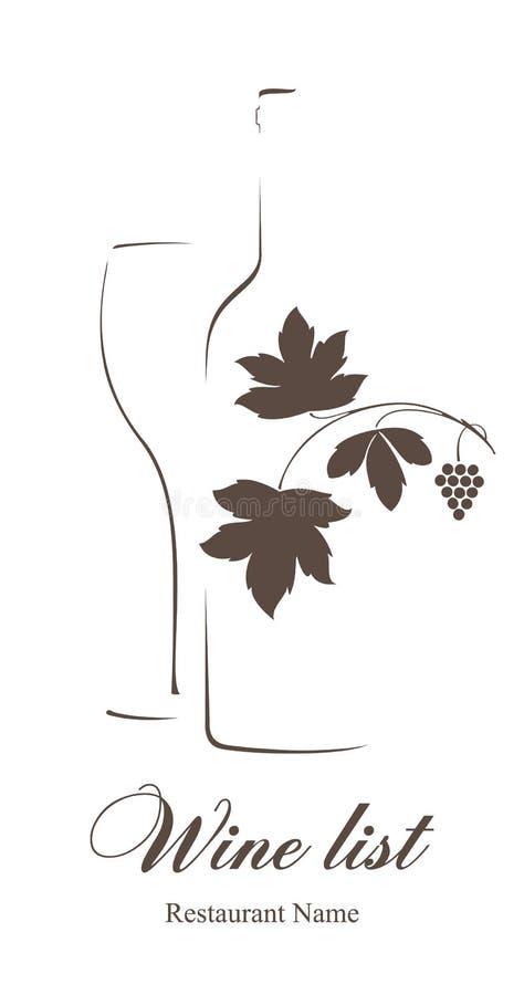 Projeto da lista de vinho ilustração royalty free