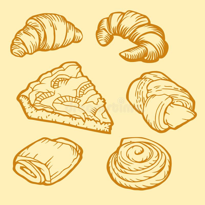 Projeto da loja da padaria Croissant, tortas e bolos deliciosos Projeto do vintage ilustração royalty free