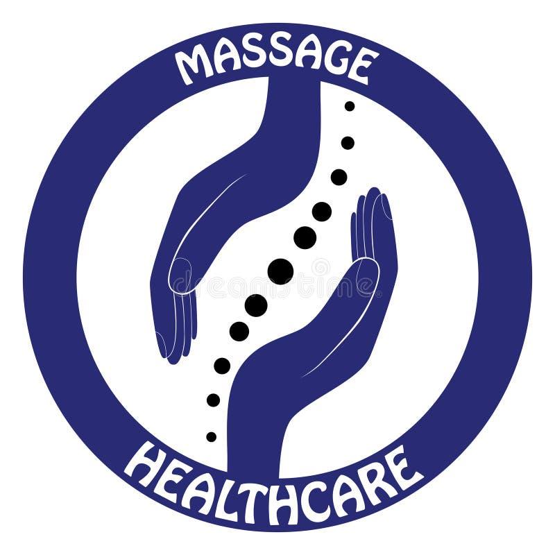 Projeto da mão do logotipo da quiroterapia Molde do logotipo da espinha Símbolo espinal - vetor ilustração royalty free