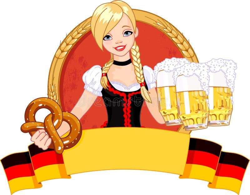 Projeto da menina de Oktoberfest ilustração royalty free