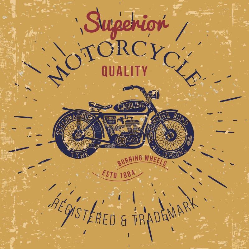 Projeto da motocicleta do vintage para o vetor gráfico da cópia do t-shirt ilustração do vetor