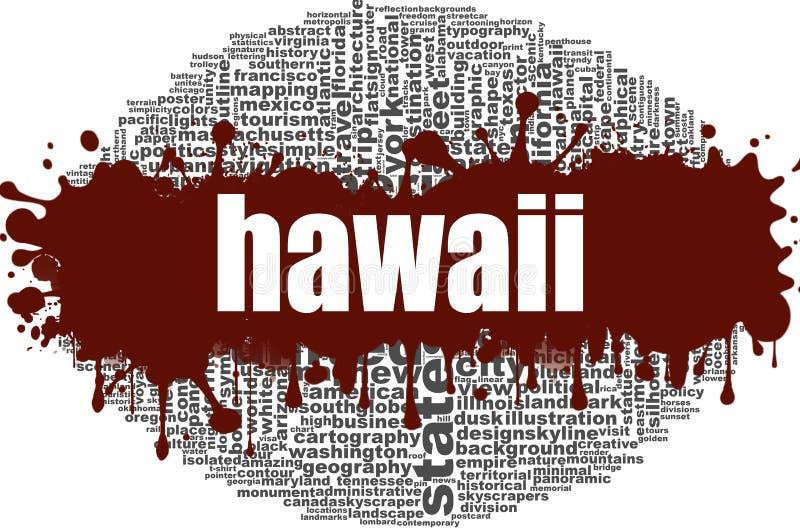 Projeto da nuvem da palavra de Havaí ilustração royalty free