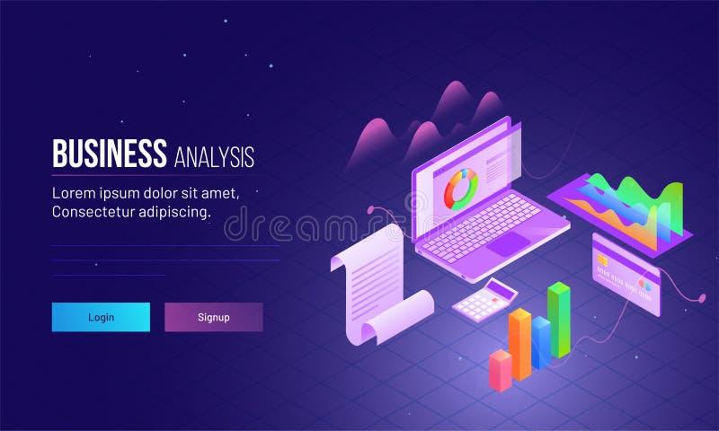 Projeto da página da aterrissagem com ideia isométrica de dados da análise do portátil ilustração stock