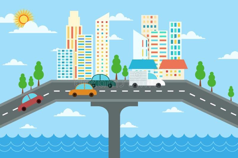 Projeto da paisagem da cidade ilustração royalty free