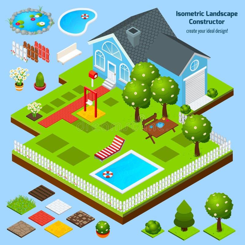 Projeto da paisagem isométrico ilustração stock