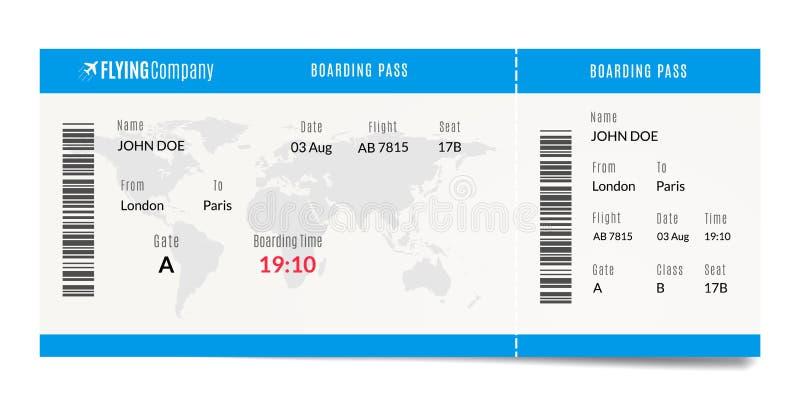 Projeto da passagem de embarque do avião Ilustração plana do bilhete do curso Molde da admissão do ar ilustração stock