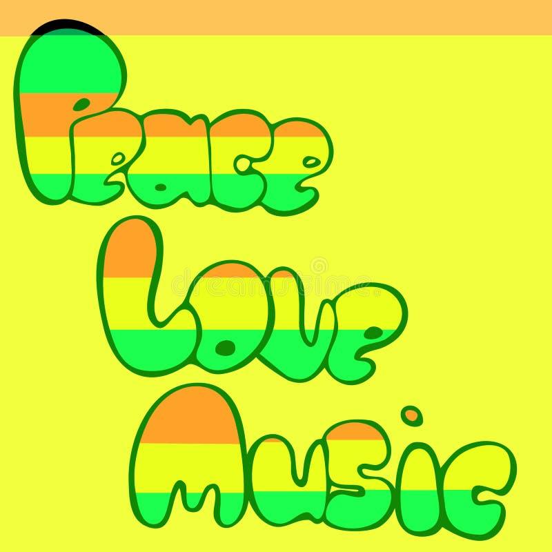Projeto da paz, do amor e da música no estilo da bolha em cores verdes, amarelas e vermelhas Ilustração do vetor ilustração royalty free