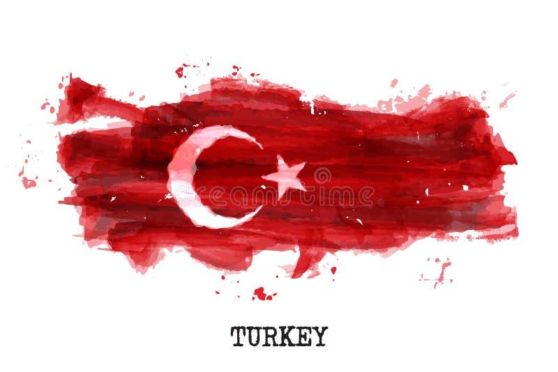 Projeto da pintura da aquarela da bandeira de Turquia r Equipe de esportes e dia nacional conceito o 29 de outubro Vetor ilustração stock