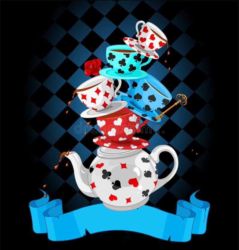 Projeto da pirâmide do tea party da maravilha ilustração do vetor