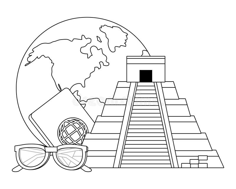 Projeto da pir?mide de Kukulkan ilustração royalty free