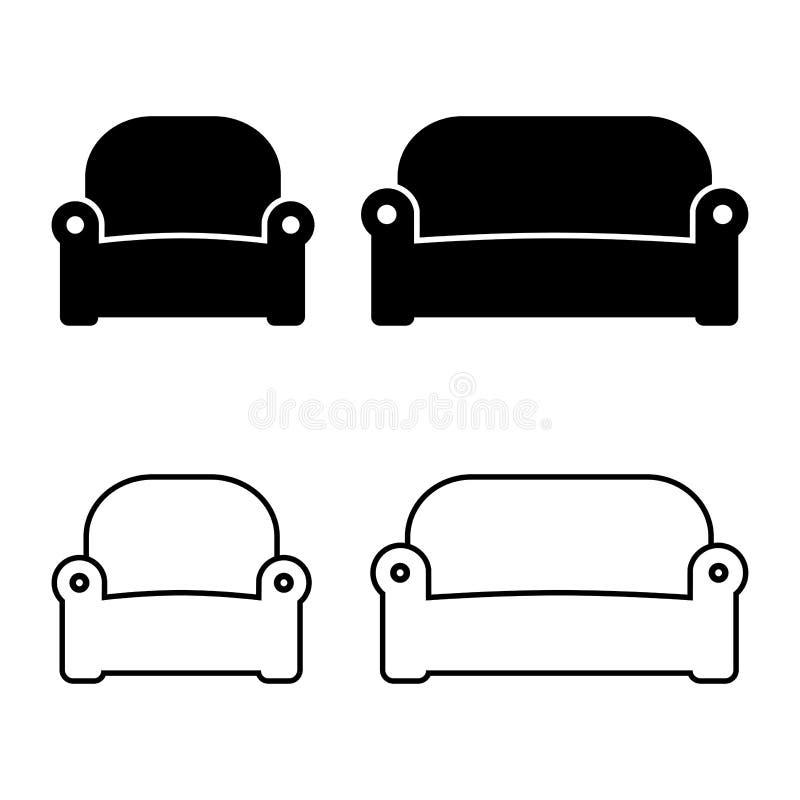 Projeto da poltrona e do sofá, do plano e do esboço Ilustração do vetor ilustração royalty free