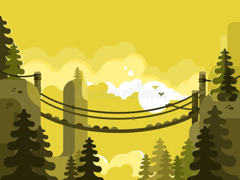 Projeto da ponte de suspensão liso ilustração stock