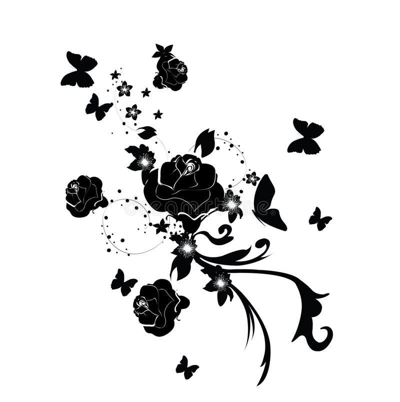 Projeto da rosa do sumário ilustração royalty free