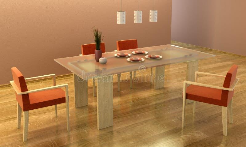 Projeto da sala de jantar ilustração royalty free