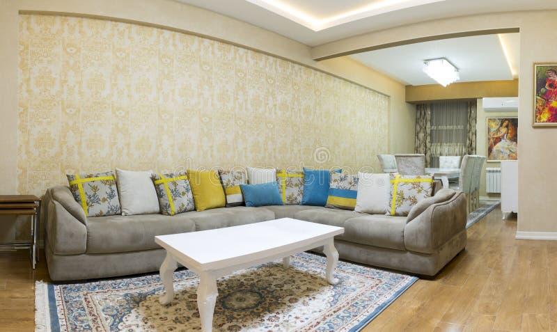 Projeto da sala de visitas com sofá e tapete imagem de stock royalty free