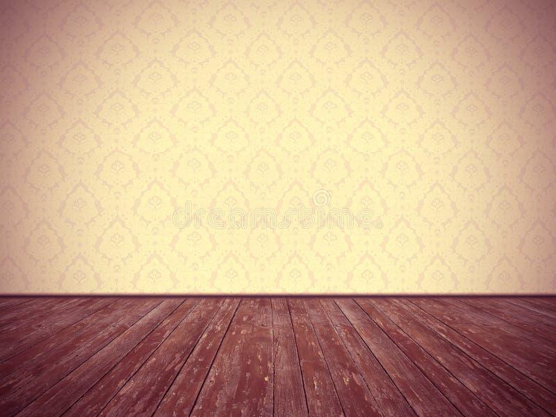 Projeto da sala do vintage: papel de parede floral e assoalho de madeira resistido ilustração royalty free
