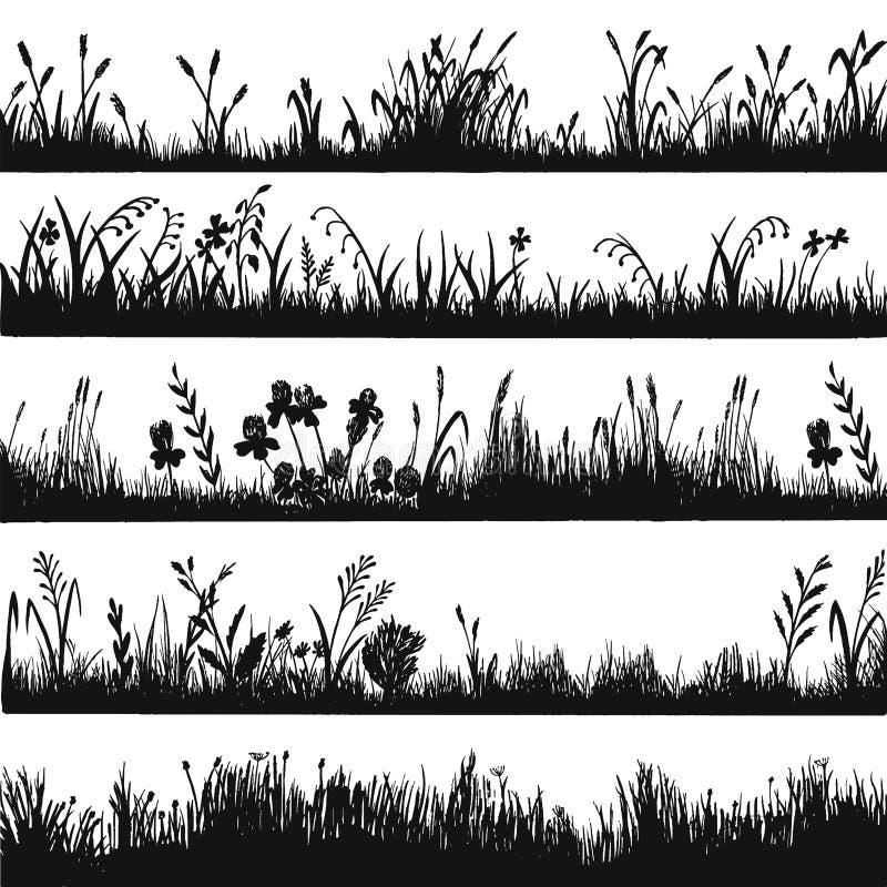 Projeto da silhueta da grama, beira da erva do ambiente natural ilustração royalty free