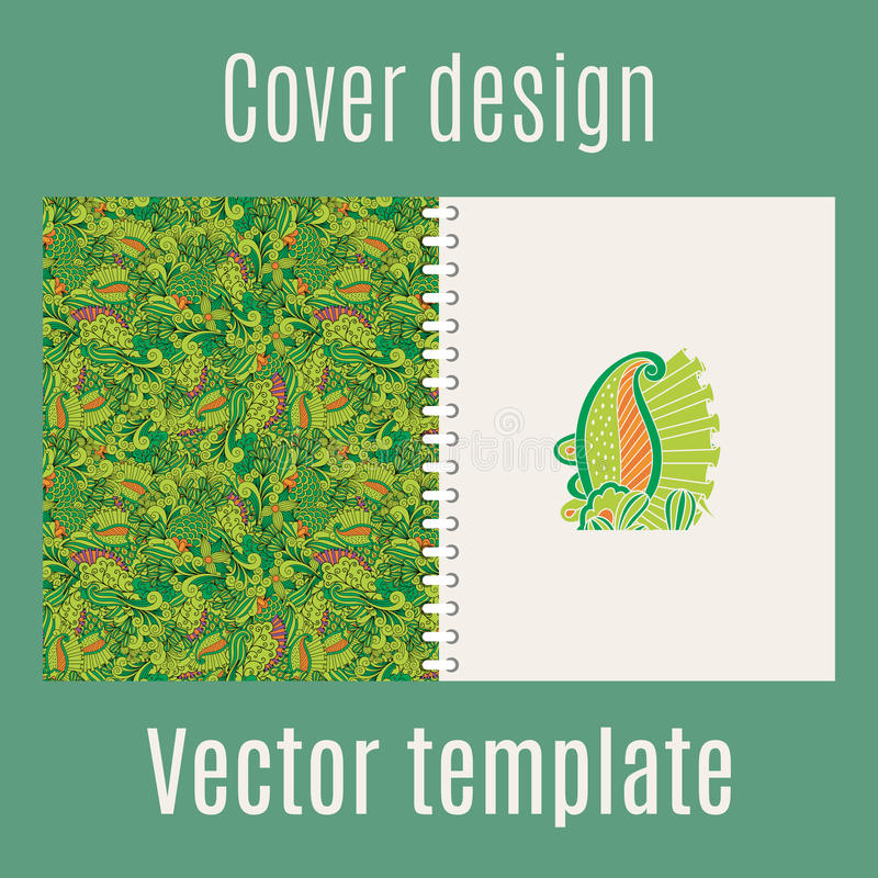 Projeto da tampa com folhas da selva ilustração do vetor