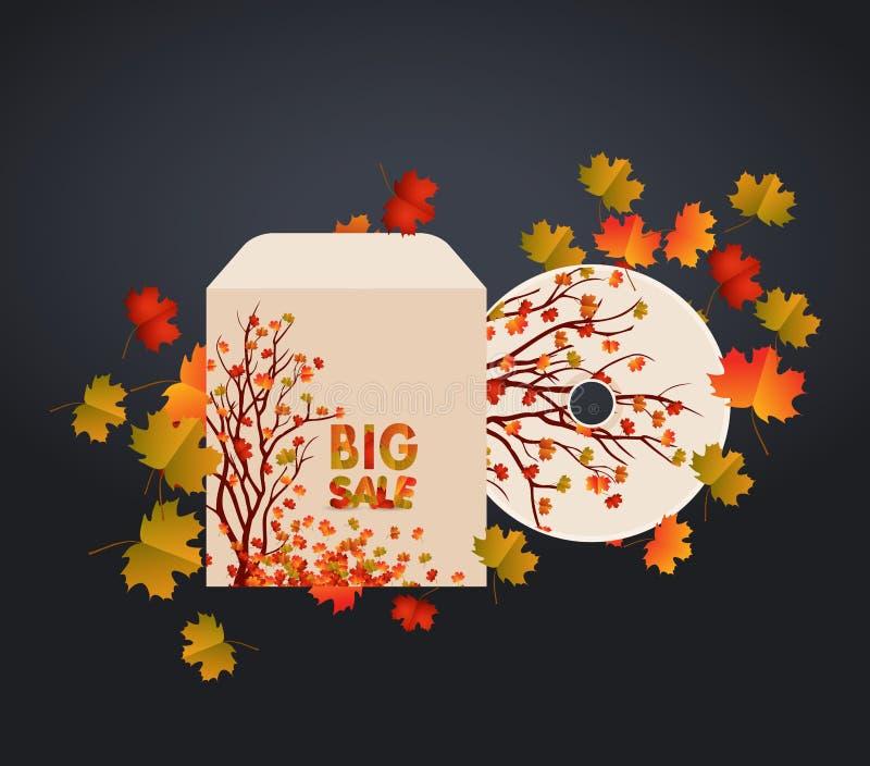 Projeto da tampa do CD, cartão e folhas de outono Pode ser usado como o convite e os cumprimentos para a ação de graças ilustração stock