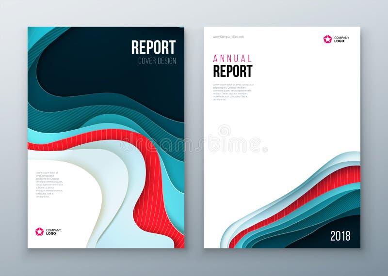 Projeto da tampa do informe anual Molde da empresa para o folheto, informe anual, catálogo, compartimento, livro, brochura ilustração do vetor