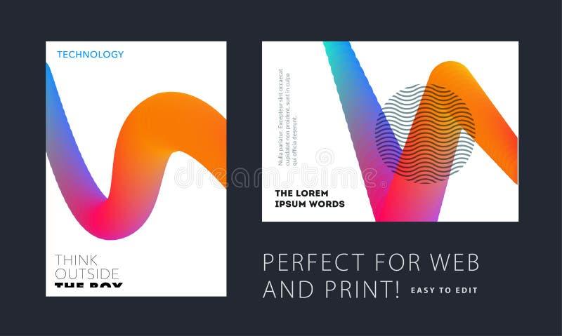 Projeto da tampa macia do molde do folheto Grupo moderno colorido do sumário, informe anual com formas para marcar ilustração stock
