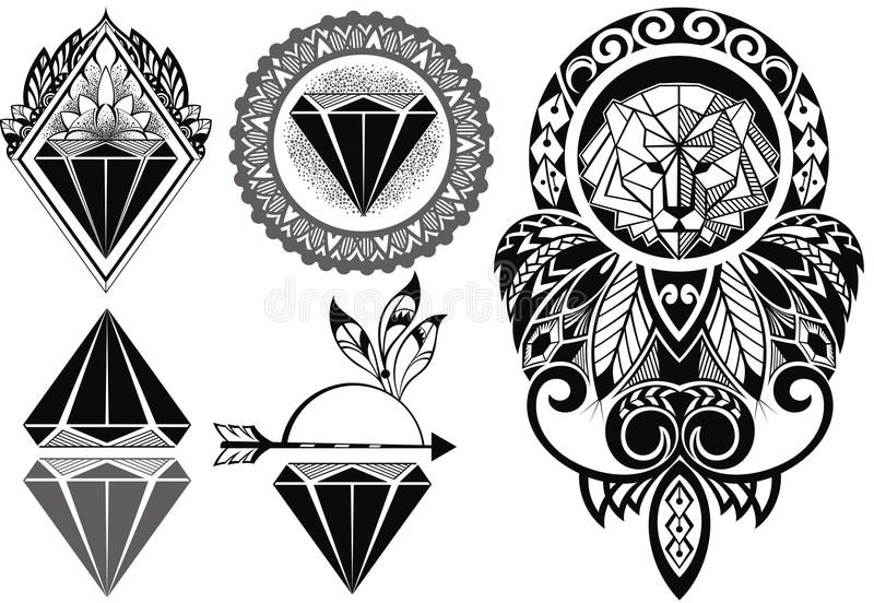 Projeto da tatuagem com leão ilustração royalty free