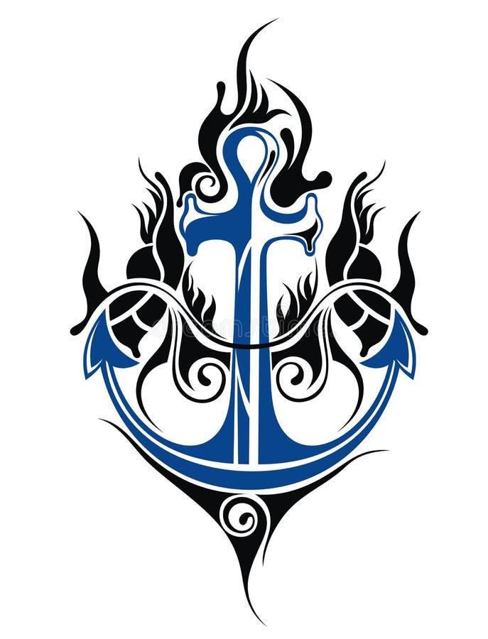 Projeto da tatuagem da âncora ilustração do vetor