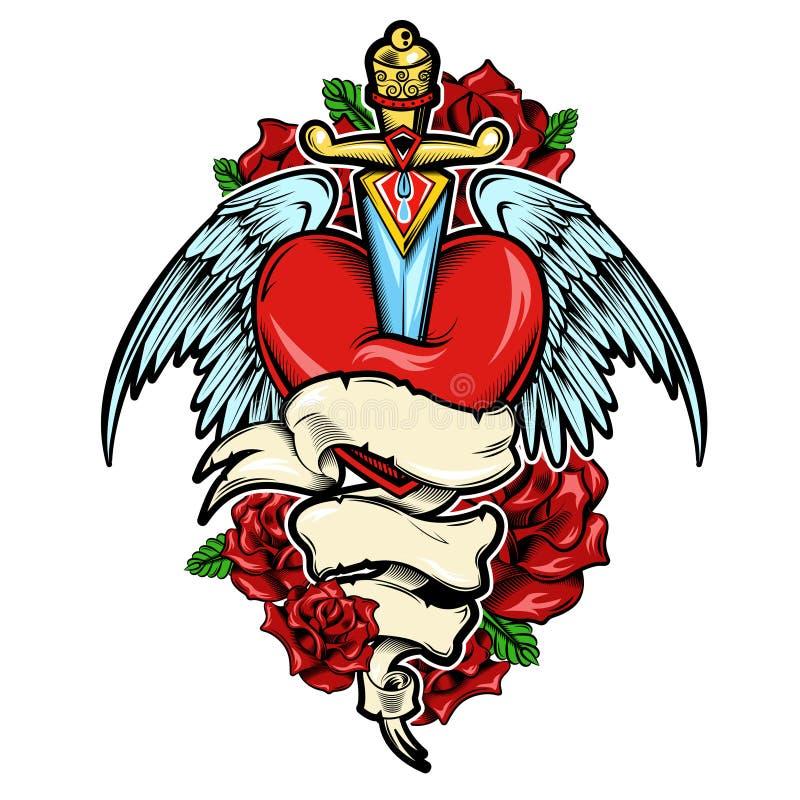 Projeto da tatuagem do coração quebrado ilustração do vetor