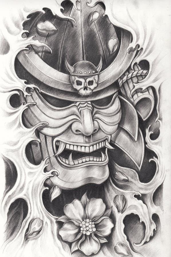 Projeto da tatuagem do guerreiro do samurai ilustração stock