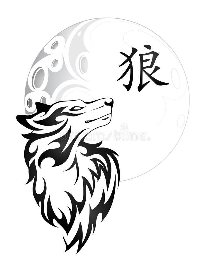 Projeto da tatuagem do lobo ilustração royalty free