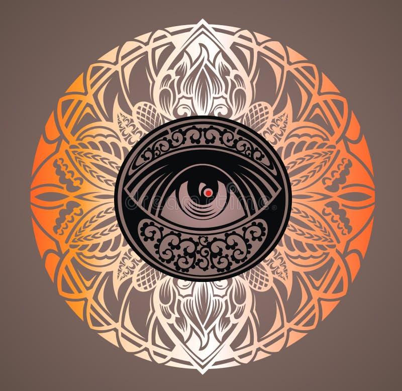 Projeto da tatuagem, símbolo mágico místico ilustração do vetor