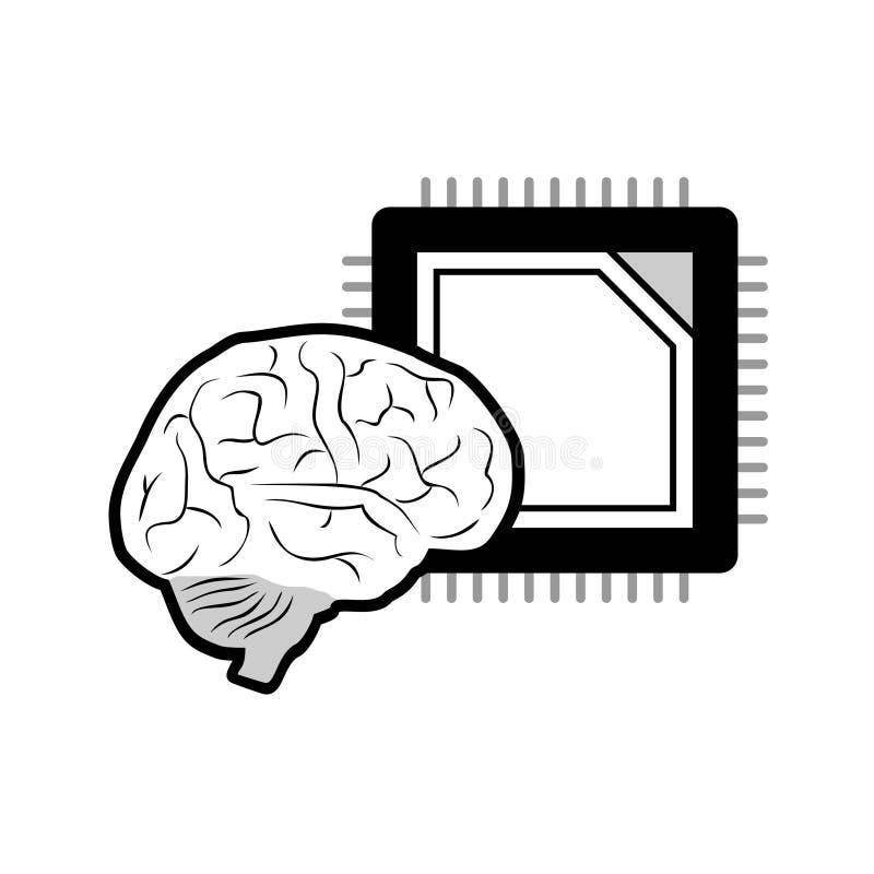 Projeto da tecnologia futurista do c?rebro ilustração do vetor