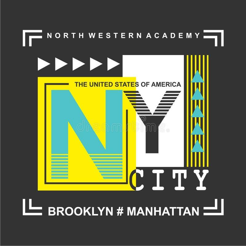 Projeto da tipografia de New York City/Brooklyn para o t-shirt ilustração royalty free