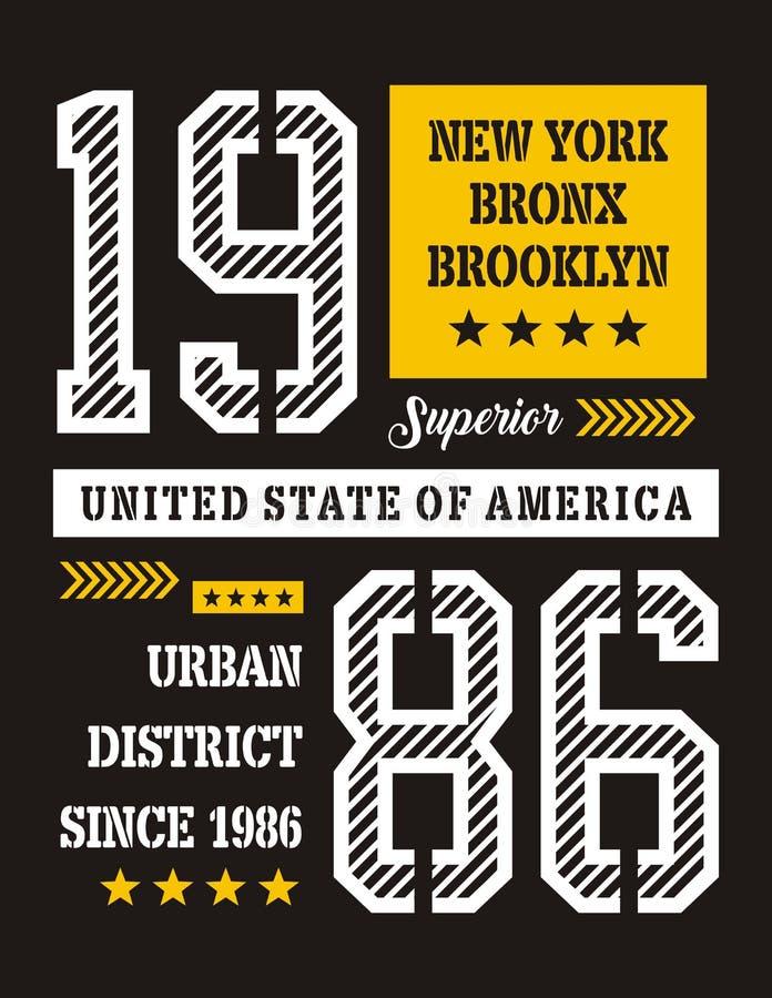 Projeto da tipografia de New York, imagem do vetor ilustração stock