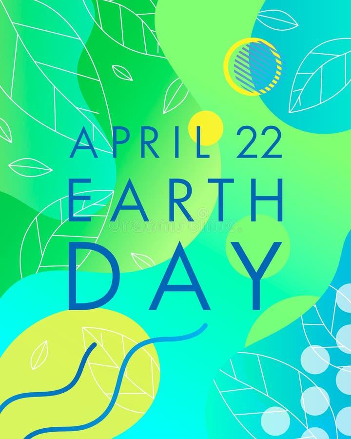 Projeto da tipografia do Dia da Terra ilustração do vetor