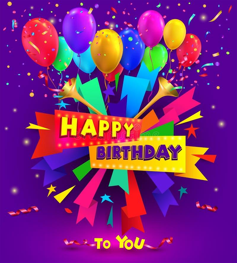 Projeto da tipografia do feliz aniversario para o cartaz e cartões com balão, os confetes e a caixa de presente de cumprimento, m ilustração do vetor