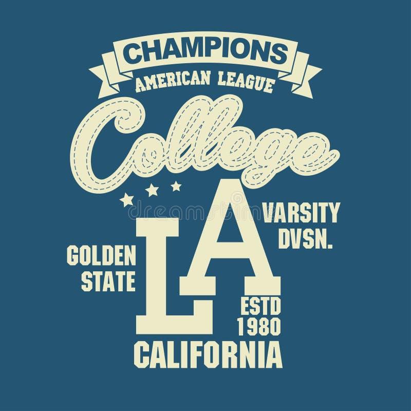 Projeto da tipografia do t-shirt do esporte de Califórnia ilustração royalty free