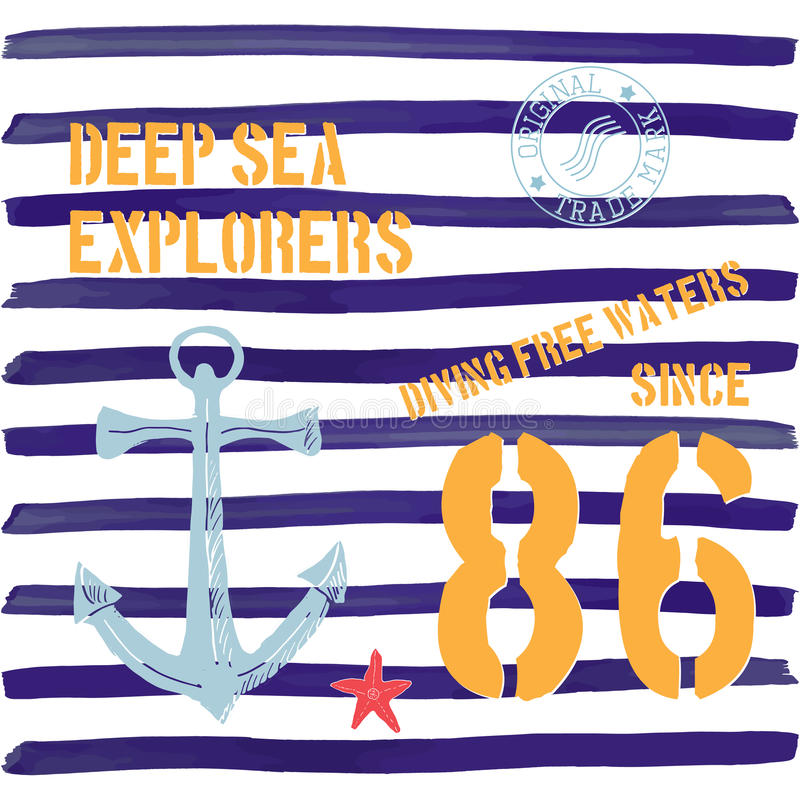 Projeto da tipografia do t-shirt, exploradores do mar profundo que imprimem gráficos, ilustração tipográfica do vetor, marinha, t ilustração stock