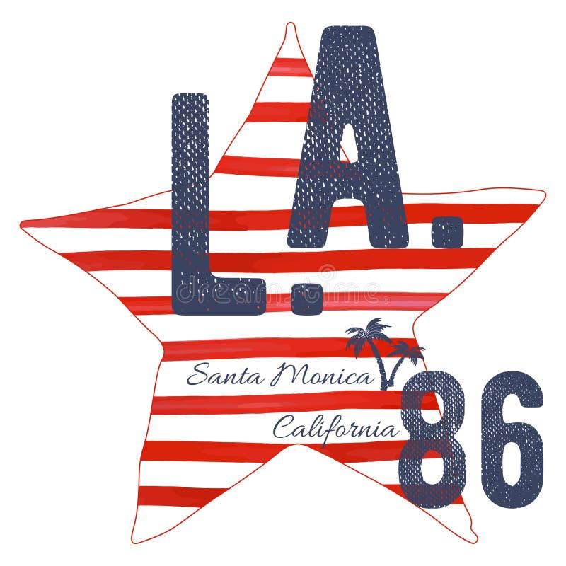 Projeto da tipografia do t-shirt, gráficos da impressão da praia de Califórnia Santa Monica do LA, ilustração tipográfica do veto ilustração stock