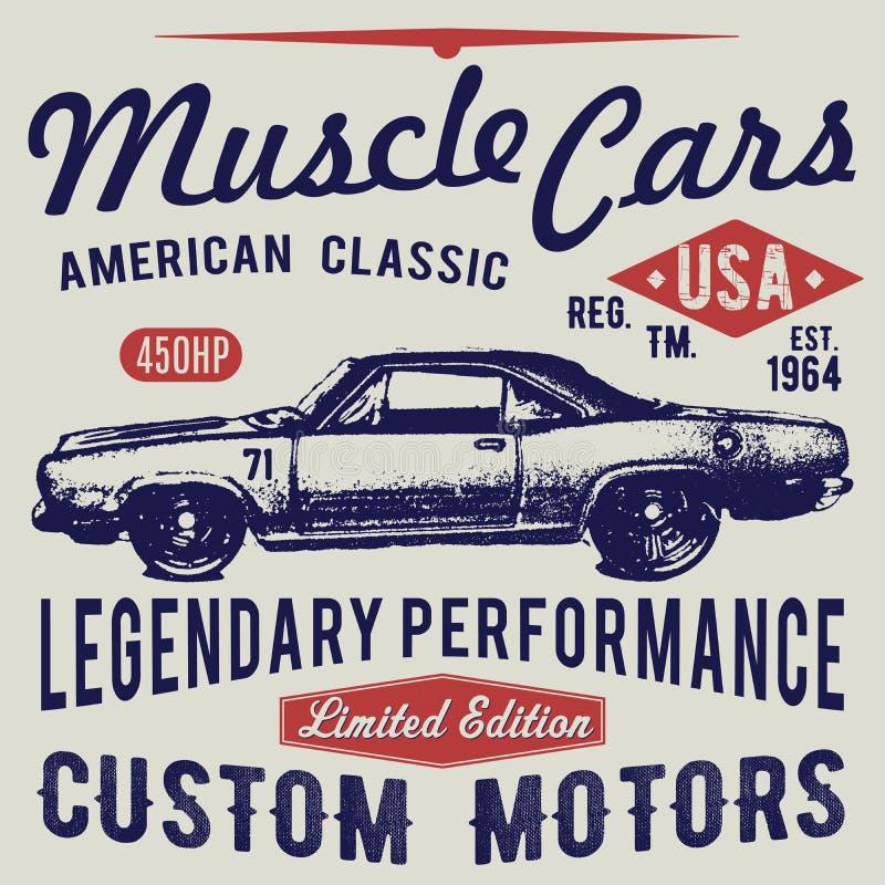 Projeto da tipografia do t-shirt, vetor retro do carro, imprimindo gráficos, ilustração tipográfica do vetor, projeto gráfico do  ilustração royalty free