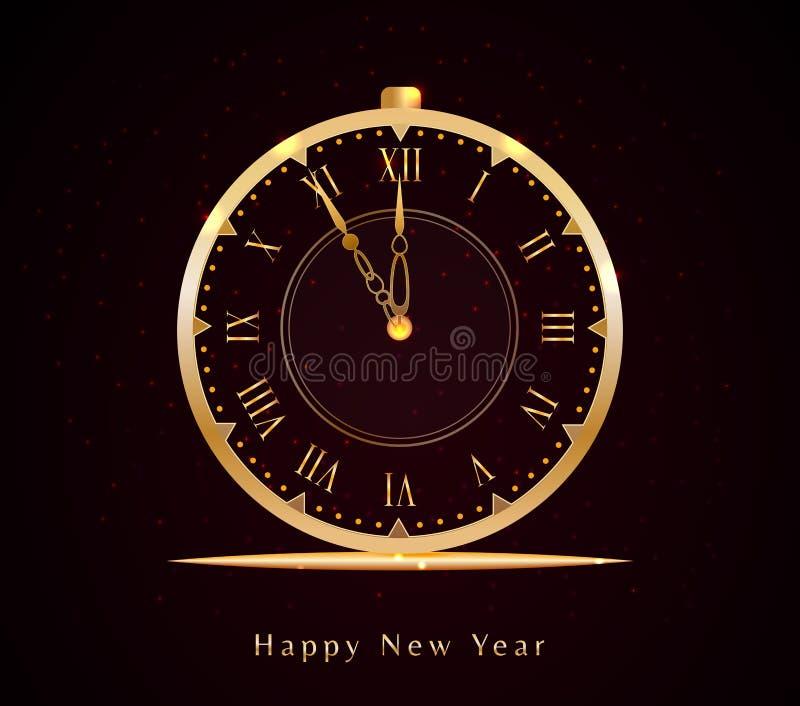 Projeto da véspera de ano novo feliz com o pulso de disparo dourado e o texto do vintage isolados no fundo preto com luz do brilh ilustração stock