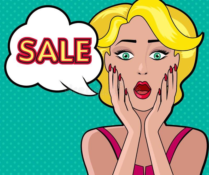 Projeto da venda da bolha do discurso da mulher liso ilustração stock