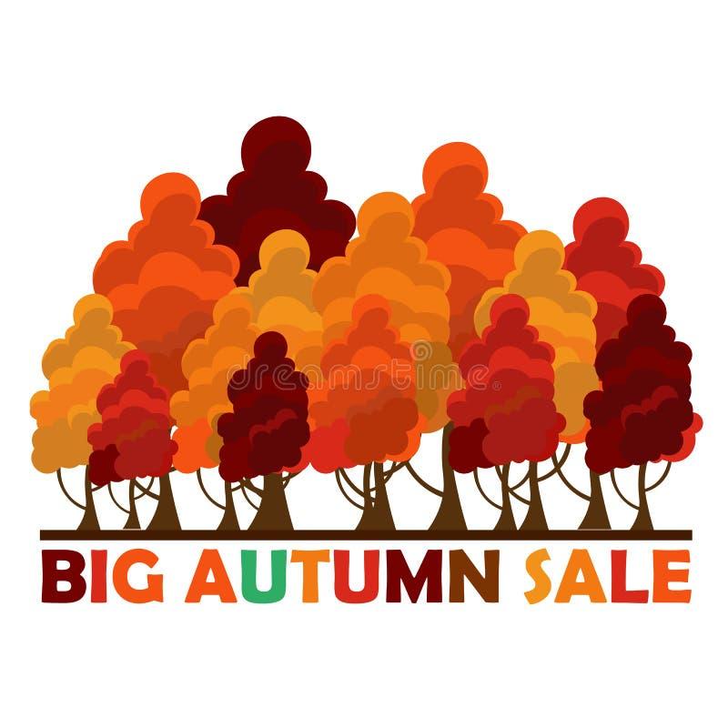 Projeto da venda da queda Venda grande do outono Ilustração do vetor com as árvores coloridas do outono ilustração do vetor